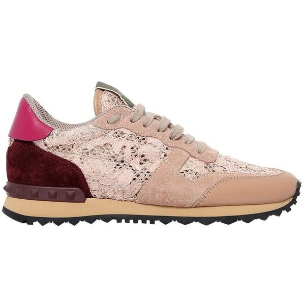 Valentino Women Rockstud Lace & Suede Sneakers (2,645 SAR) ❤ liked on Polyvore featuring shoes, sneakers, nude, nude sneakers, lace sneakers, studded sneakers, studded shoes and valentino trainers