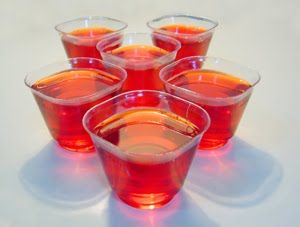 Cinnamon Heart Fireball Shooters!    Made these last night- combine wild cherry jello and fireballs whiskey! Replace cold water with the cold whisky! = AMAZING!