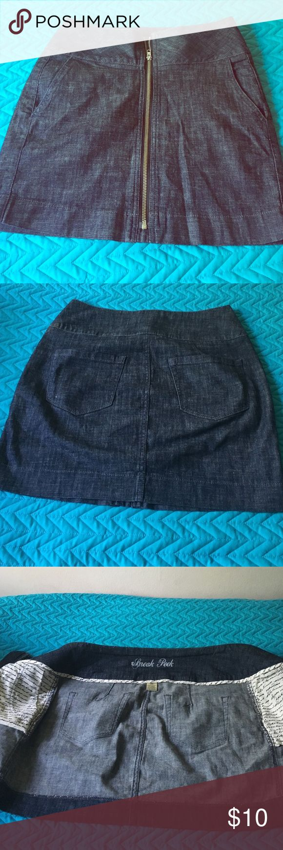 Short skirt with the zipper soft Jean material Short Jean skirt with the zipper on the front with two pocket!in very good condition Skirts Mini