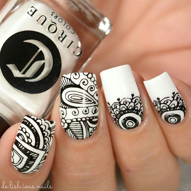 Black and white nail art.  Nail Stamping.  Stamp nail design.
