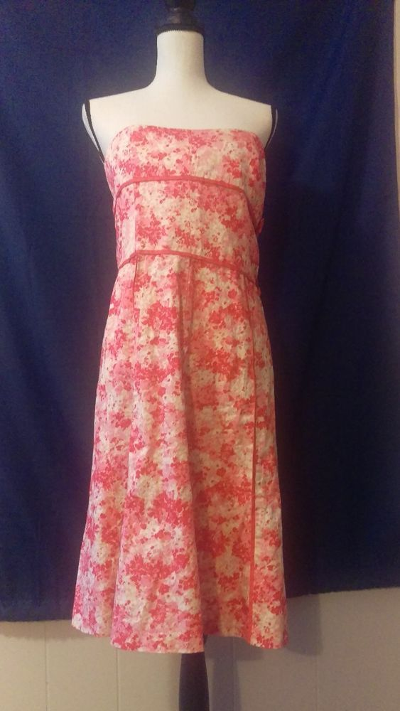 Ann Taylor Strapless Pink Floral Dress Size 10 | Clothing, Shoes & Accessories, Women's Clothing, Dresses | eBay!