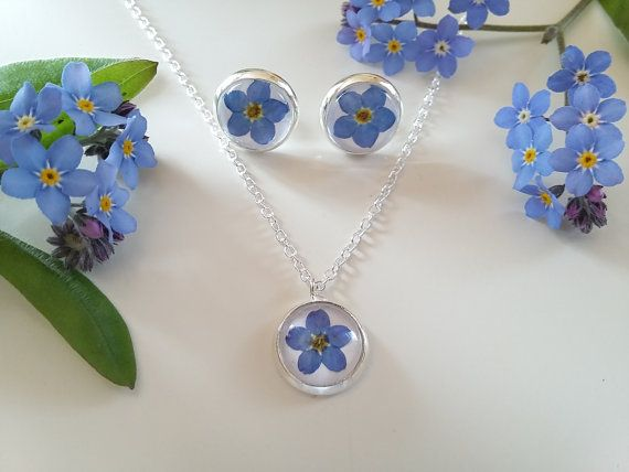 Forget-me-not Set - Earrings and Necklace Set - Botanical Jewelry - Gifts from the garden - Minimalist Jewellery - Momatuvi