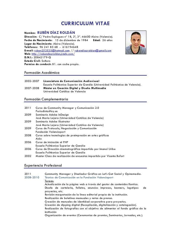 Curriculum Vitae Datos De Interes Modelo De Curriculum Vitae