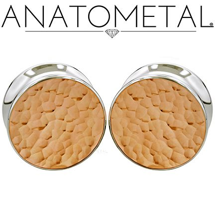 "7/8"" Single Stone Eyelets in ASTM F-138 stainless steel set with Hammered Copper Fronts"