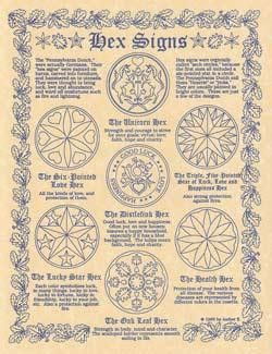"Hex Signs poster. Includes 7 Hexes and Definitions. Quote from poster Hex signs were originally called sech circles, because the first ones all included a six pointed star in the circle. 8 12"" x 11""."