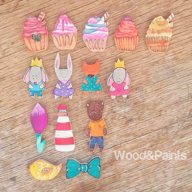 Badges, brooches made of wood. Hand-painted. Part 2! #woodandpaints  #diy #woodworking #handmade