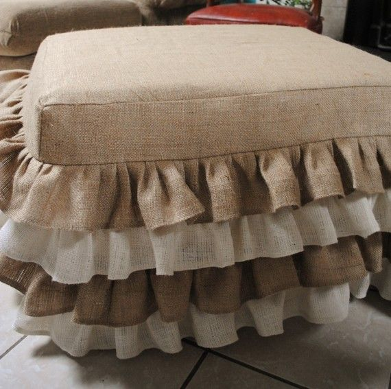 cute idea for a ruffled burlap ottoman cover.  I would use all one color rather than multi.