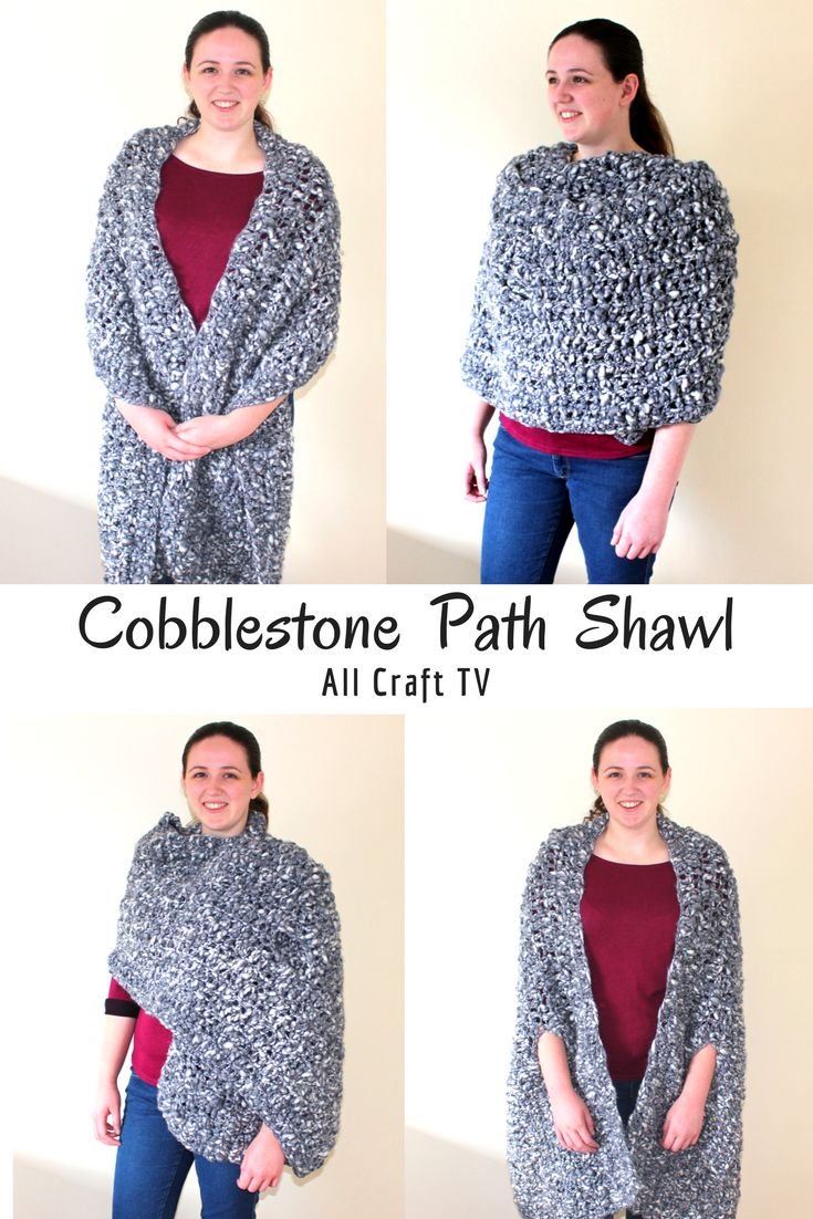 This crocheted Cobblestone Path Shawl is super warm and has a lovely texture. You can wear it as scarf, a shaw with armholes, a wrap and blanket!