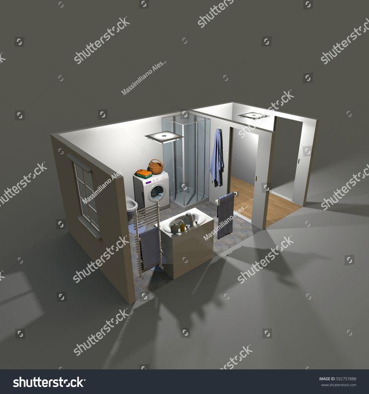 3d interior rendering of illuminated bathroom by night