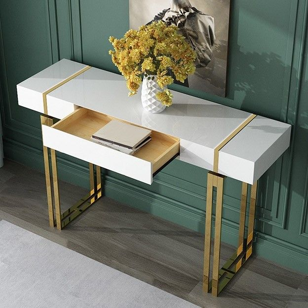 Modern Luxury White Console Table With Drawer Storage Rectangular Entryway Table Stainless St Luxury House Interior Design Furniture Design Black Console Table
