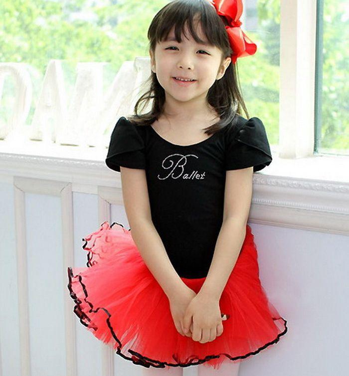 Девочки красный / черный купальник ну вечеринку юбка танец платье балет пачка скейт SZ3-8Y сделано в китай
