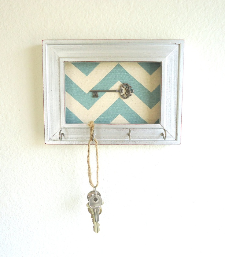 Key Holder-Hook Organizer Frame Chevron Silver Weathered 5 Silver Hooks- House warming gift-Home decor -Ready to Ship. $17.50, via Etsy.