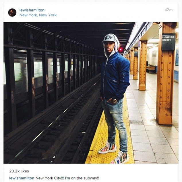 Hamilton spent the time between the Bahrain and China Grand Prix holidaying in New York City
