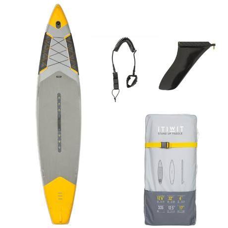 """SUP Board aufblasbar 500 12'6-32"""" gelb   Tribord"""