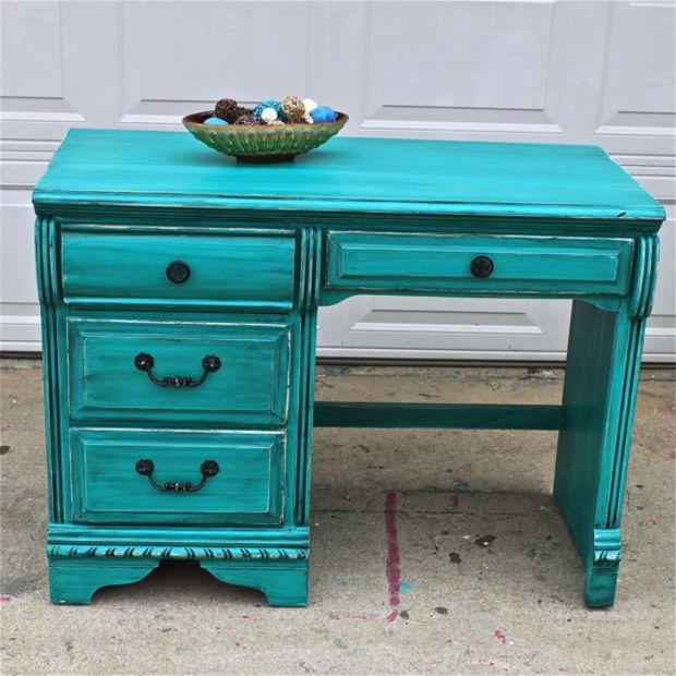 Patina Green Vintage Desk Turquoise Vanity Bedroom Furniture Tv Stand Storage