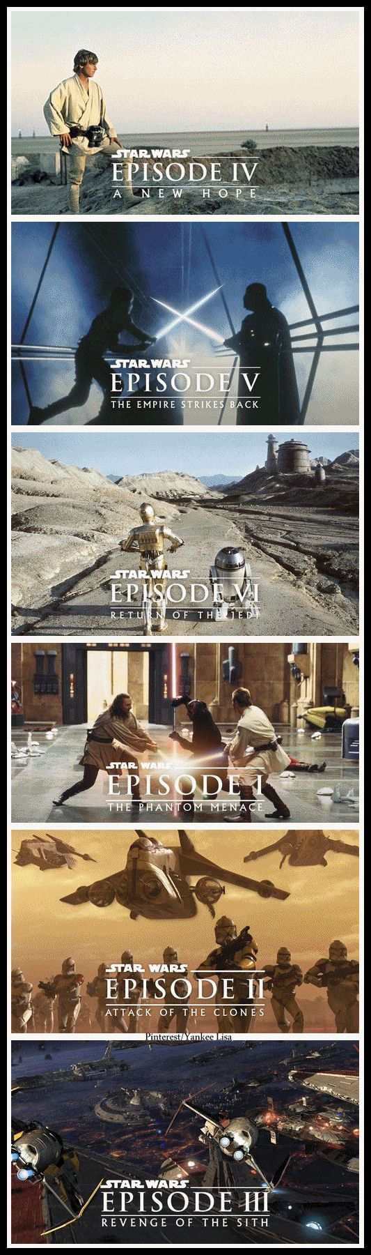 The Star Wars saga...as they first appeared in the theaters, starting back in the mid-70s. To this day I still can't figure out why George Lucas started the series in the middle and not at the beginning. lol