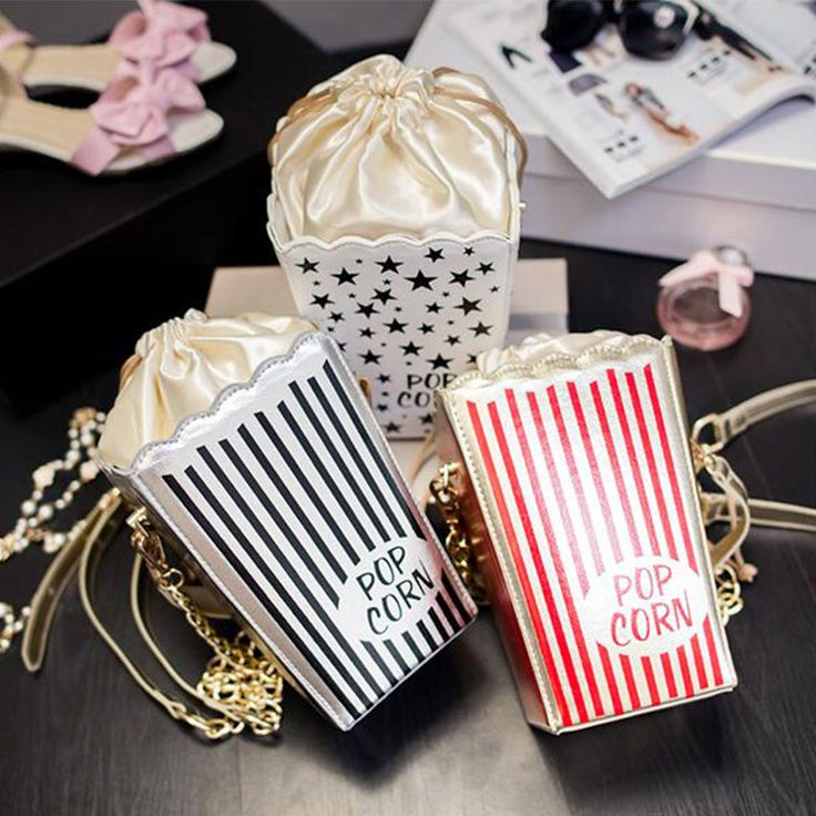 vintage woman popcorn drawerstring hand bag