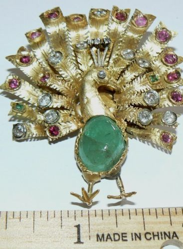 1-200-000-colones-firm-18kt-ANTIQUE-ALL-gem-peacock-dress-pin-sarchi-8874-6459
