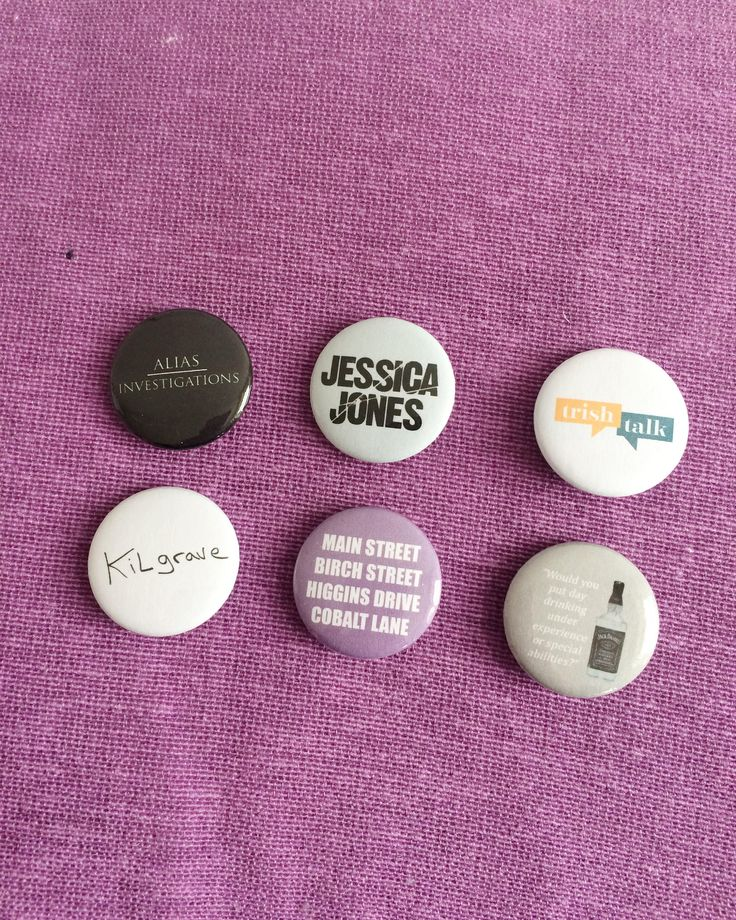 Excited to share the latest addition to my #etsy shop: MARVEL'S (Alias Investigations) Jessica Jones Inspired Button Badges - Set of 6 - Kilgrave - Trish Walker - Netflix Show - Handmade Badges http://etsy.me/2nEpcy5