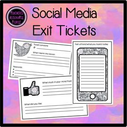 Exit tickets are fantastic at getting your students to reflect on their learning in your lessons. Students love these social media exit tickets as it allows them to reflect by using a medium they are very familiar with!   There are 3 different types of tickets included: Twitter, Facebook and texting with sparkly goodness!