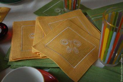 Текстиль, ковры ручной работы. Ярмарка Мастеров - ручная работа Салфетка коктейльная желтая или зеленая  с бабочкой. Handmade.