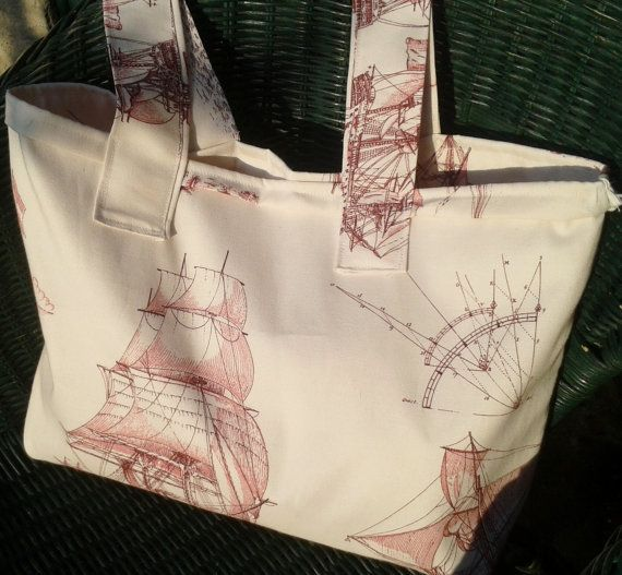 Men's Sailing Boat Tote Handmade Large French Cotton by CREACOLOR, $28.00