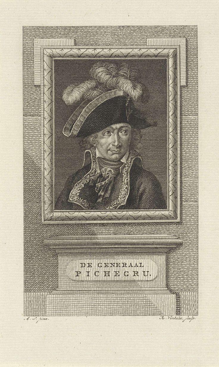 Reinier Vinkeles | Portret van Franse generaal Charles Pichegru, Reinier Vinkeles, Monogrammist AS (18e eeuw), 1786 - 1809 |