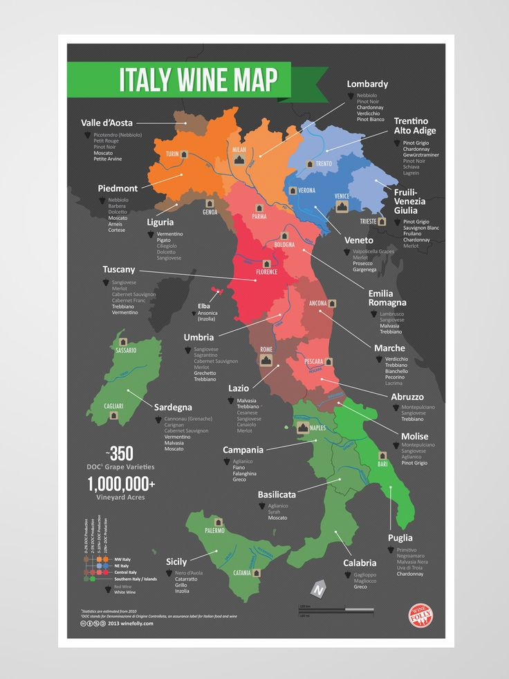 Italy Wine Map: So you can tell your Alto Adige Pinot Grigio from your Abruzzo Montepulciano.