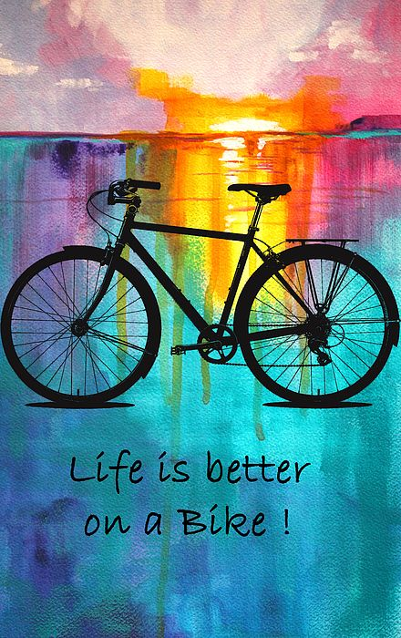 Better On A Bike - painting by Nancy Merkle nancy-merkle.artistwebsites.com #bikelife #bicycling #bikeride