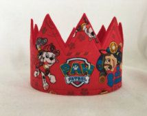 Pata de patrulla corona, fiesta de cumpleaños de la patrulla de la pata, rojo, pata patrulla sombrero fiesta, pata patrulla corona, corona de cumpleaños de chicos, chicos cumpleaños sombrero de cumpleaños