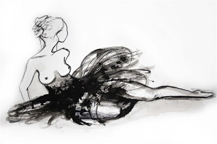 Illustration art, ink, Bella donna ballerina by Jacqueline Tamm