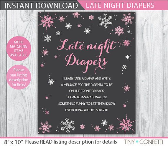 late night diapers sign / Winter late night diapers / Snowflake late night diapers / girl late night diapers sign / baby shower games by TinyConfetti