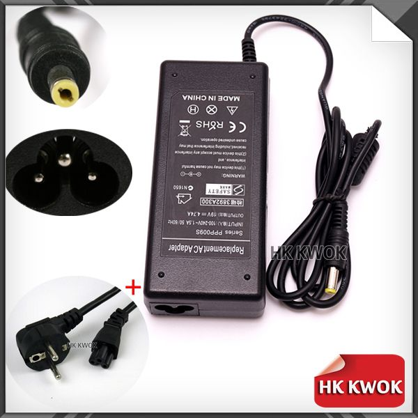 EU Power Cord+19V 4.74A 5.5*1.7mm For acer aspire Laptop Power Charger 492AC 4750G 4820T 4520G 4741G 5520 4925G 4930G 4730ZG