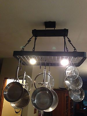 Hanging ceiling pot pan rack w 2 lights includes hangers for Overhead pots and pans rack