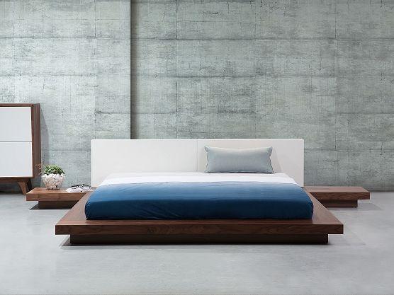 Letto matrimoniale in legno marrone chiaro e testata in ecopelle bianca - Letto in stile giapponese con comodini - 180x200cm - ZEN