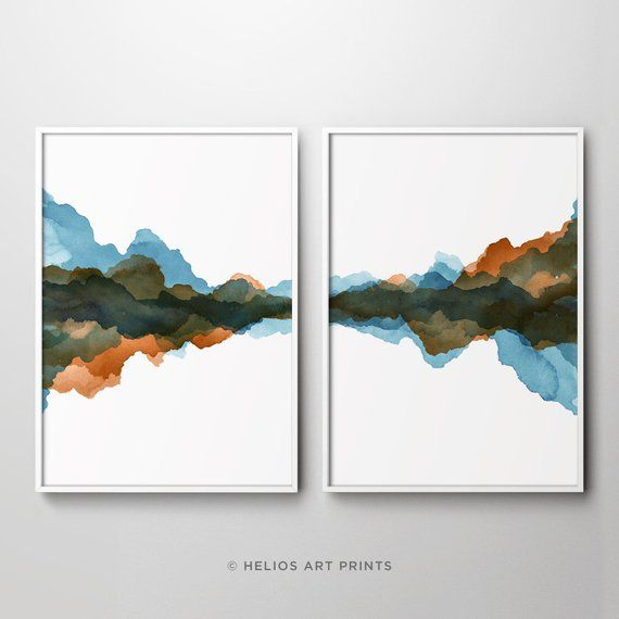 Set Of 2 Abstract Slate Blue And Rust Orange Modern Art Watercolour Print Set Of Two Teal Blue And Orange Printable Downloadable Wall Art Blue Wall Art Watercolor Art Prints Watercolor
