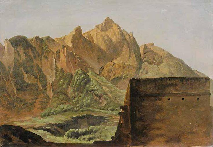 image principaleSimon DENIS Anvers, 1755 - Naples, 1813  Le Sommet du Mont Epomeo dans l'île d'Ischia  Vers 1792 - 1795  H. : 32,10 cm. ; L. : 46 cm.  Étude à l'huile sur papier