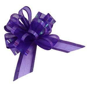Large Purple Organza Pull Bow 50mm  Wedding Party Gift Wrap