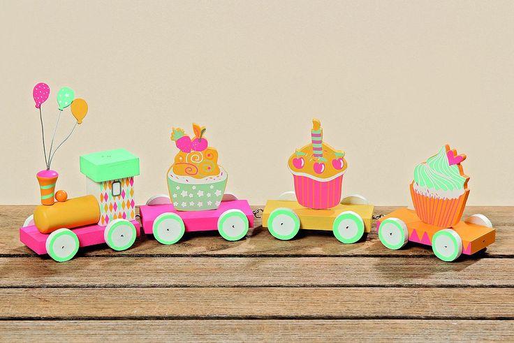 Zug Geburtstagszug Muffin bunt Holz 4tlg  L:30cm 001