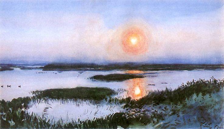 Julian Falat - Sunset (Zachód słońca nad mokradłami)  1908