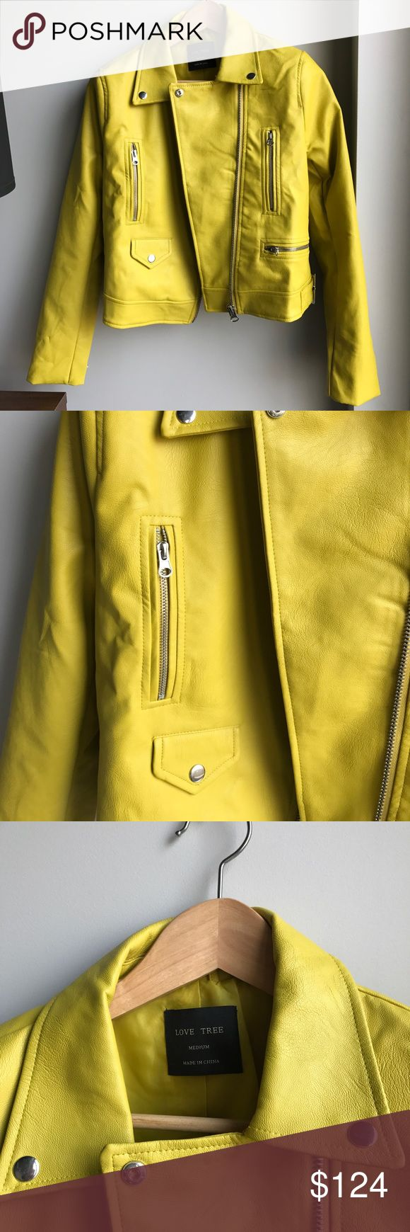 SUPER RARE!! MOTO JACKET / FAUX LEATHER JACKET NEW Yellow... almost neon green. Have not added any filters so you can see how incredible this color is. BRAND NEW!! But i did remove the tags. A show stopping piece, you will get so many questions on where you got it. Truly one of a kind. I would wear it with an all black outfit and the jacket as a pop of color on top. Also would look amazing with skinny jeans and a white top. Urban Outfitters Jackets & Coats Pea Coats