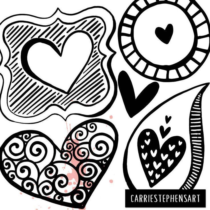 Line Heart Border Clipart Heart Digital Stamps Printable Etsy Clip Art Borders Etsy Shop Banner Doodles