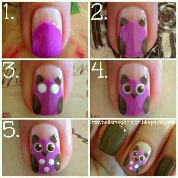 Owl nails so cute I want them in Brown and Orange for fall.