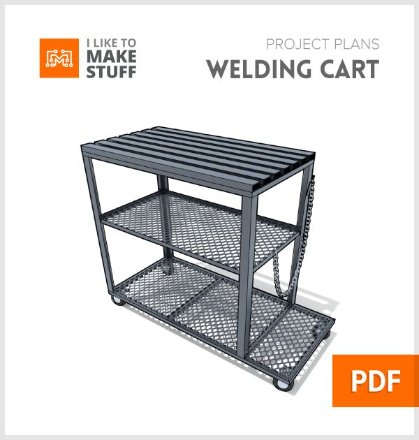 This simple cart/table is moveable and has plenty of room to hold your welding, gas tank and several metal working tools. It's a great project for a beginning welder (like me) as well! See the full build video and tutorial for this project at  http://www.iliketomakestuff.com/how-to-make-a-welding-cart-table  *all plans are in imperial units (inches/feet)