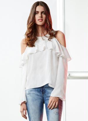 Blusa Guipir e Ombros Aparentes Lunender (Branco)