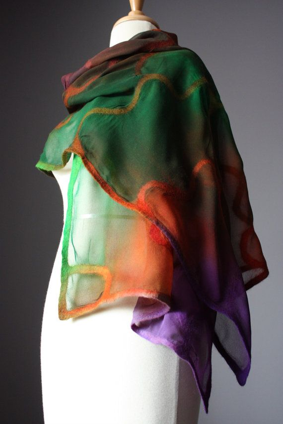 Nuno felted scarf shawl wrap silk wool design by VitalTemptation, $99.00