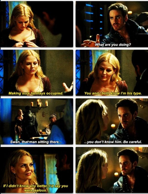 The Sass of Emma paired with the concern of Killian.. He knows that past self, what he's done, and doesn't want to get Emma involved..