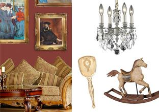 The Royal Room -   Your taste is on par with that of royalty, and you want your castle to shine. Enter this collection of regal décor pieces. Sparkling crystal chandeliers to add opulence to a dining room. Stately tables for the living room. And elegant artwork to hang in a stairwell or entryway.                  ...  #Bowl, #Brush, #Candle, #Chandelier, #Fan, #Frame, #Knife, #Lamp, #Lighting, #Mirror, #Painting, #Platinum, #Porcelain, #Spoon, #Table, #Vase