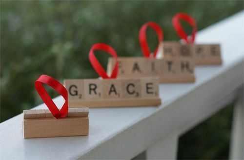 """Scrabble Ornament These are so cute and actually pretty easy to make. You can stay traditional with ornaments that say things like """"peace"""", """"hope"""", and """"Christmas"""", or you can make your neighbors an ornament with their last name spelled out."""