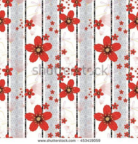 Floral seamless pattern in retro style, cute red flowers white background grey…